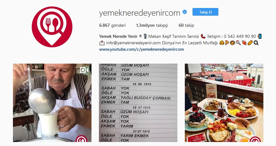 instagram yemek sayfaları